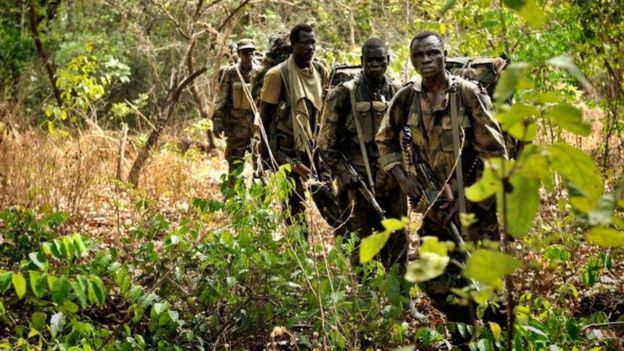 Ugandan troops are hunting for LRA commanders in the forests of CAR. Photo credit:AFP