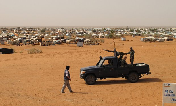 Mbera refugee camp, 50km from the border with Mali, is guarded by Mauritania's gendarmerie. Photo Credit: Alex Duval Smith.