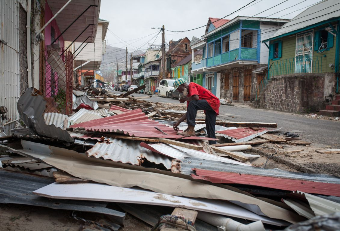 Hurricane Maria damaged 98 percent of all roofs and swept away 75 percent of the natural landscape in Dominica.