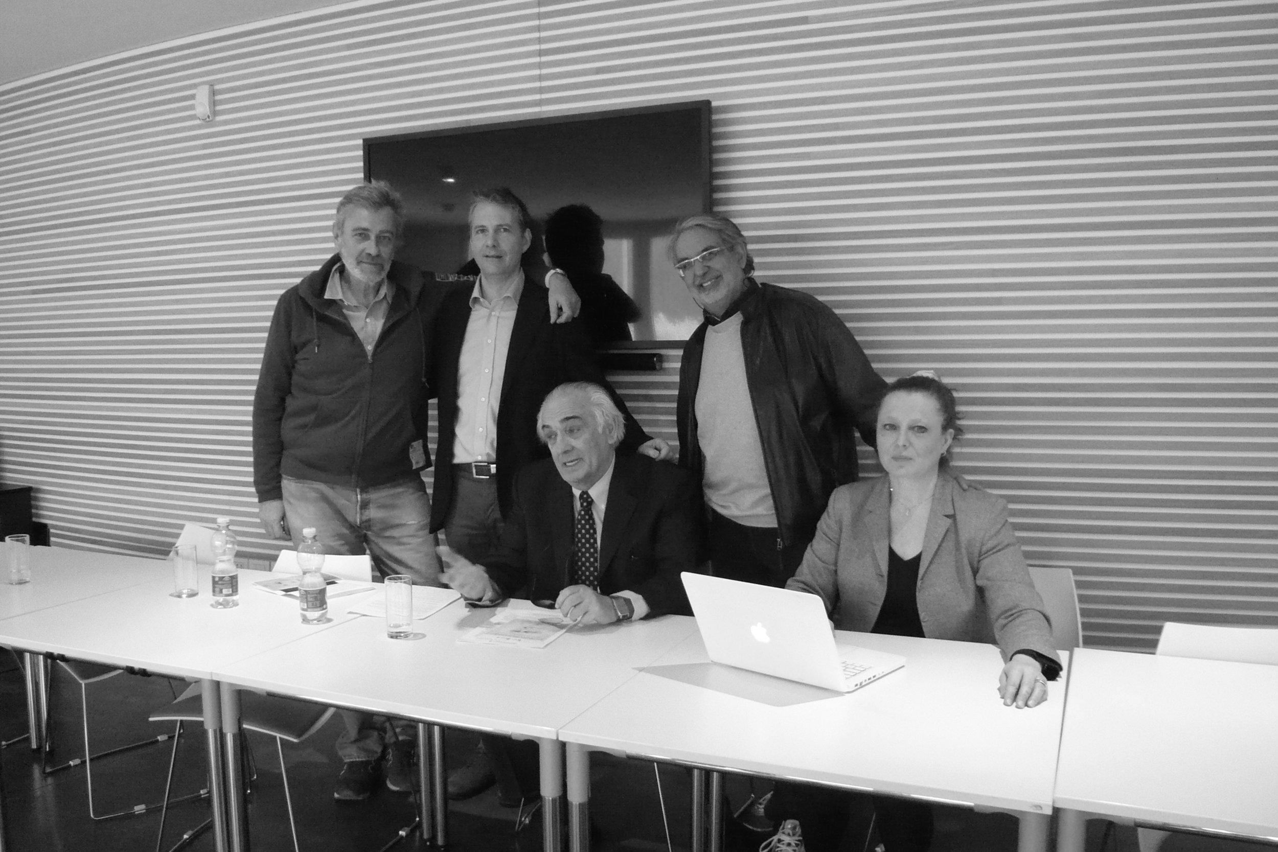 (Left to Right) Andrea Bigiarini - New Era Museum, Marco Di Battista - Member of the Jury, Sen.Alberto Robol - Regent of the Foundation, Giancarlo Beltrame - Nember of the Jury, Lorenza Somogyl Bianchi, Organization at the Press Conference.