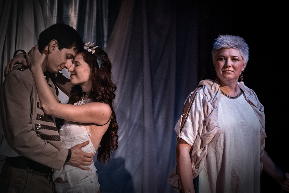 Roger Estrada as Ferdinand, Angelica Duncan-Basile as Miranda, Annie St. John as Prospero