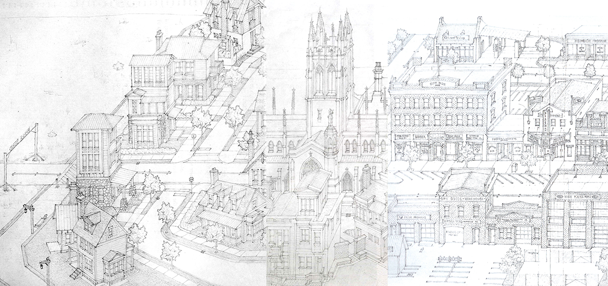 "Sample sheets from the approximately 110'-0"" long continuous drawing of the imaginative town of Coyote Creek, WY.   1996- Present  Pencil on paper, 8.5"" x approx. 110'-0"" long"