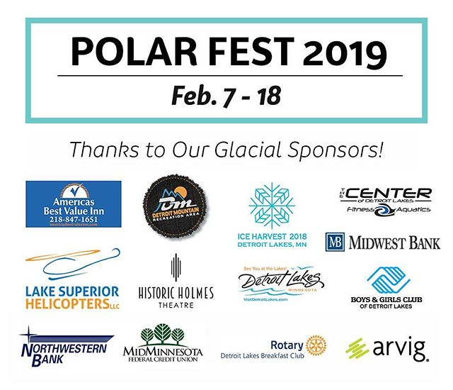 Sponsor shoutout 📣🙌 I want to say a huge THANK YOU to all of our sponsors and community organizations putting on events. I couldn't celebrate so much frozen fun without you!  #polarfestdl #communitysupport #detroitlakes