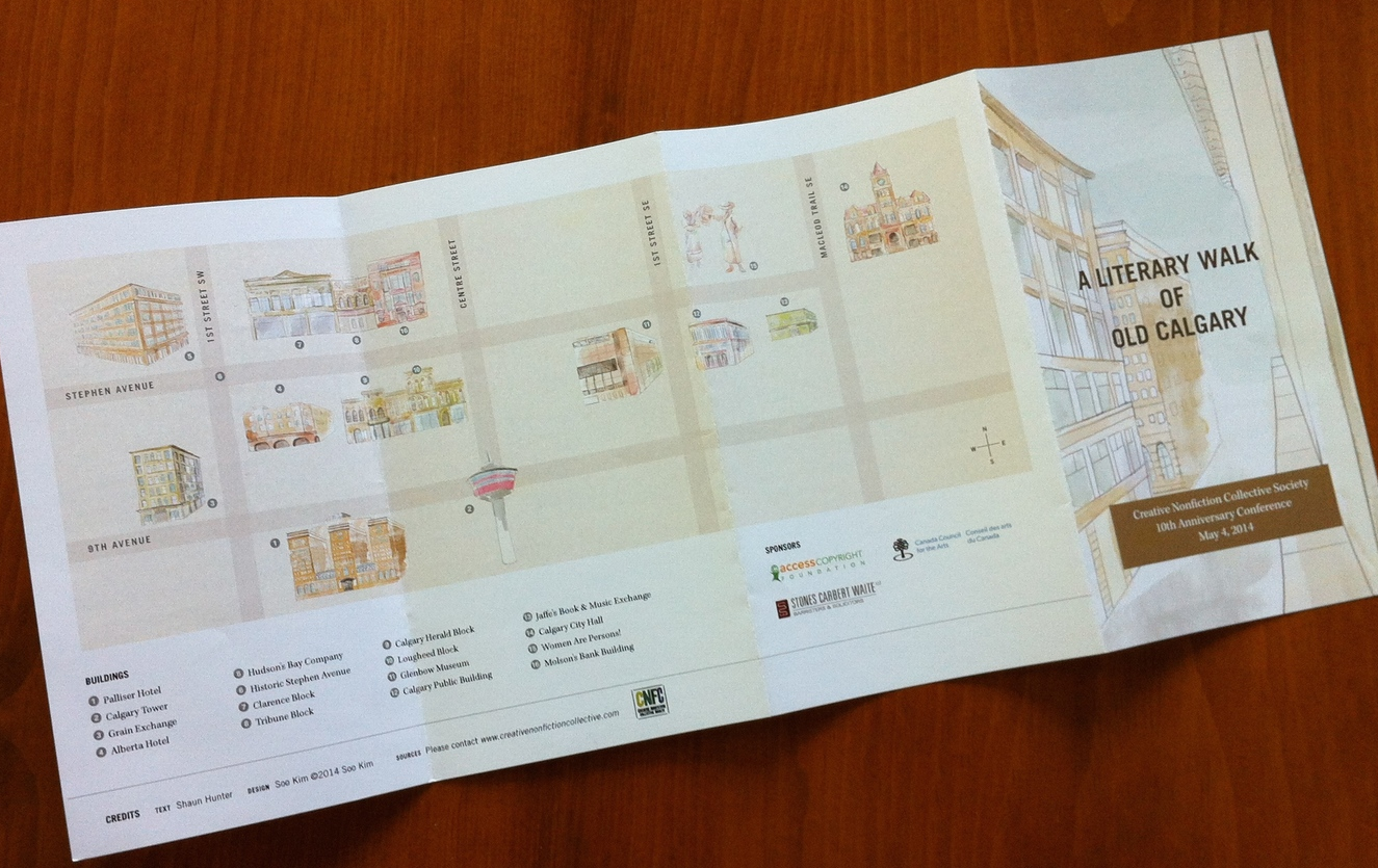 A beautiful limited-edition map, designed by ACAD student Soo Kim, features her original watercolour drawings. Thanks to Maranda Reprographics for printing the map, and to the walk sponsor, Calgary law firm Stones Carbert Waite LLP.