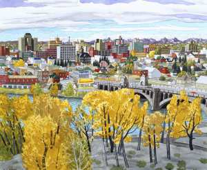 """Calgary, Alberta,"" (1955) by Edward John Hughes. A different view than that in Alistair MacLeod's novel, but one that captures the same Calgary light. (Photo: Calgary Herald)"