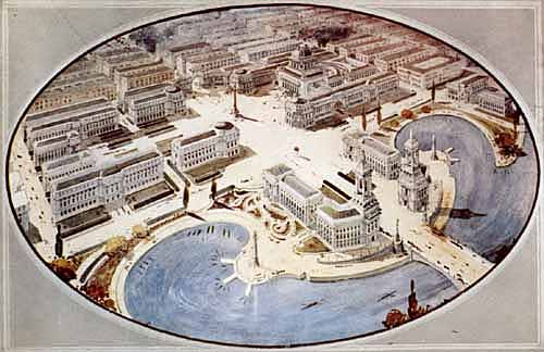 """The Civic Centre of Calgary as It May Appear Many Years Hence."" In 1913, the city commissioned English landscape architect Thomas Mawson to design this plan for Calgary. Never realized, the plan was known as ""Vienna on the Bow."" (Image:  Archives of Alberta )"
