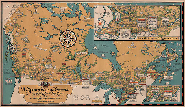 A literary map of Canada circa 1936, compiled by William Arthur Deacon; drawn and embellished by Stanley Turner; published by MacMillan.