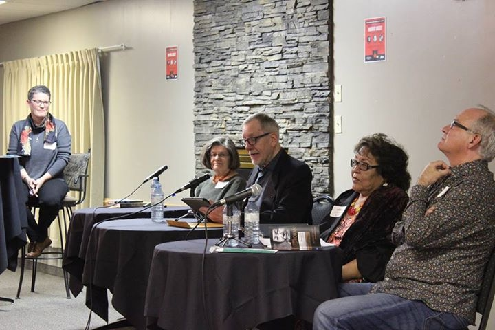Chatting fireside with Sharon Butala, Brian Brennan, Ruth Scalp Lock and her co-wrier, Jim Pritchard (Photo: Marda Loop Community Association)