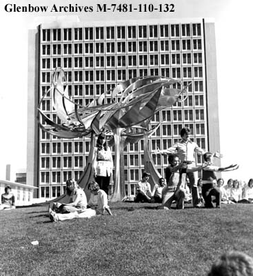 Students performing in front of the George Norris sculpture (known on campus as The Prairie Chicken) at the University of Calgary in 1977. (Photo: Glenbow Museum)