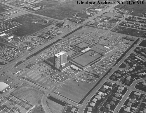 In the late 1950s, three Calgary businessmen set out to turn the site of the Chinook Drive-In theatre into a shopping mall, with Vancouver-based Woodward's department store as the anchor. The rest is retail history.  (Photo: Glenbow Archives)
