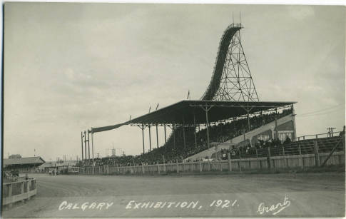A ski jump on the roof of the old grandstand: part of a scheme to hold a mid-winter exhibition at the Stampede grounds. Weather interfered. A Chinook forced organizers to cart in snow from Lake Louise, and a snowstorm on the day of competition meant smaller than predicted crowds. The debt took a decade to write off. (Photo:  Calgary Public Library )