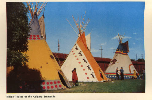 Postcard of the Indian Village at the Calgary Stampede, date unknown. (Photo:  Calgary Public Library )