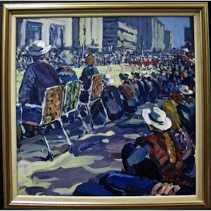 """Waiting for the Parade"" by Calgary artist Stan Phelps (Photo:  Arcadja Auctions )"