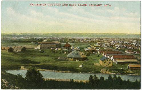 An early view of Calgary's exhibition grounds and race track,later home to the Calgary Stampede. Victoria Park is to the right, and the Elbow River is in the foreground. The Stampede Grill in Roberta Rees's story collection was located on 2nd Street East (aka MacLeod Trail), across the street from the entrance to the Stampede.(Photo:  Calgary Public Library Postcards from the Past )