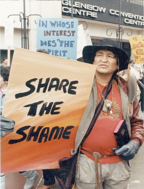 In early 1988, two years before Wagamese's novel takes place, 150  First Nations protesters  gathered peacefully in front of the Glenbow Museum. They were part of the Lubicon band's move to boycott the Glenbow's Spirit Sings exhibit, part of the 1988 Winter Olympic Arts festival. (Photo: Calgary Herald)