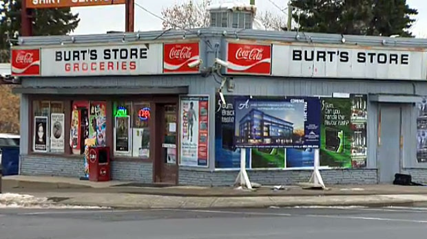 In 1946, when Austin and Norma Burt opened their store at the corner of Elbow Drive and 50th Avenue SW, Burt's was at the city limits. Its offerings included a post office, an ice cream bar and a hitching post for customers on horseback. Burt's was demolished in 2015 to make way for a 5-storey commercial building. (Photo: makecalgary.com)