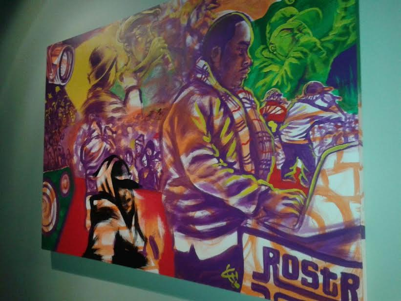 Id labs mural for rostrum records done live in 2006 of wiz Khalifa , Dj huggy , Dj bonics