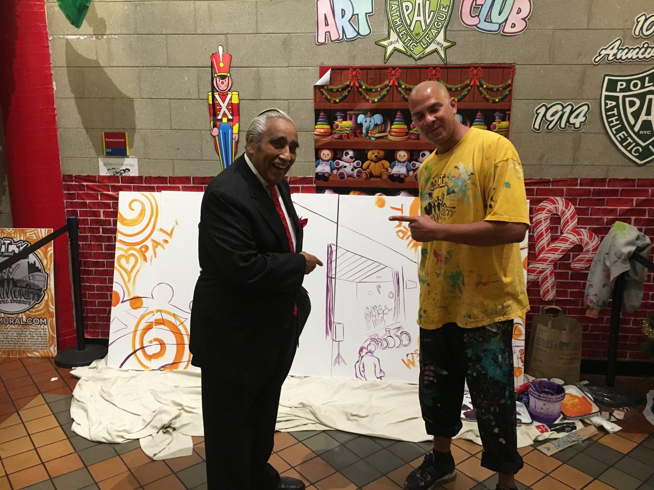 Congressman Charlie Bernard Rangel from Harlem helps Artist Kyle Holbrook with the P.A.L. Mural 2016.