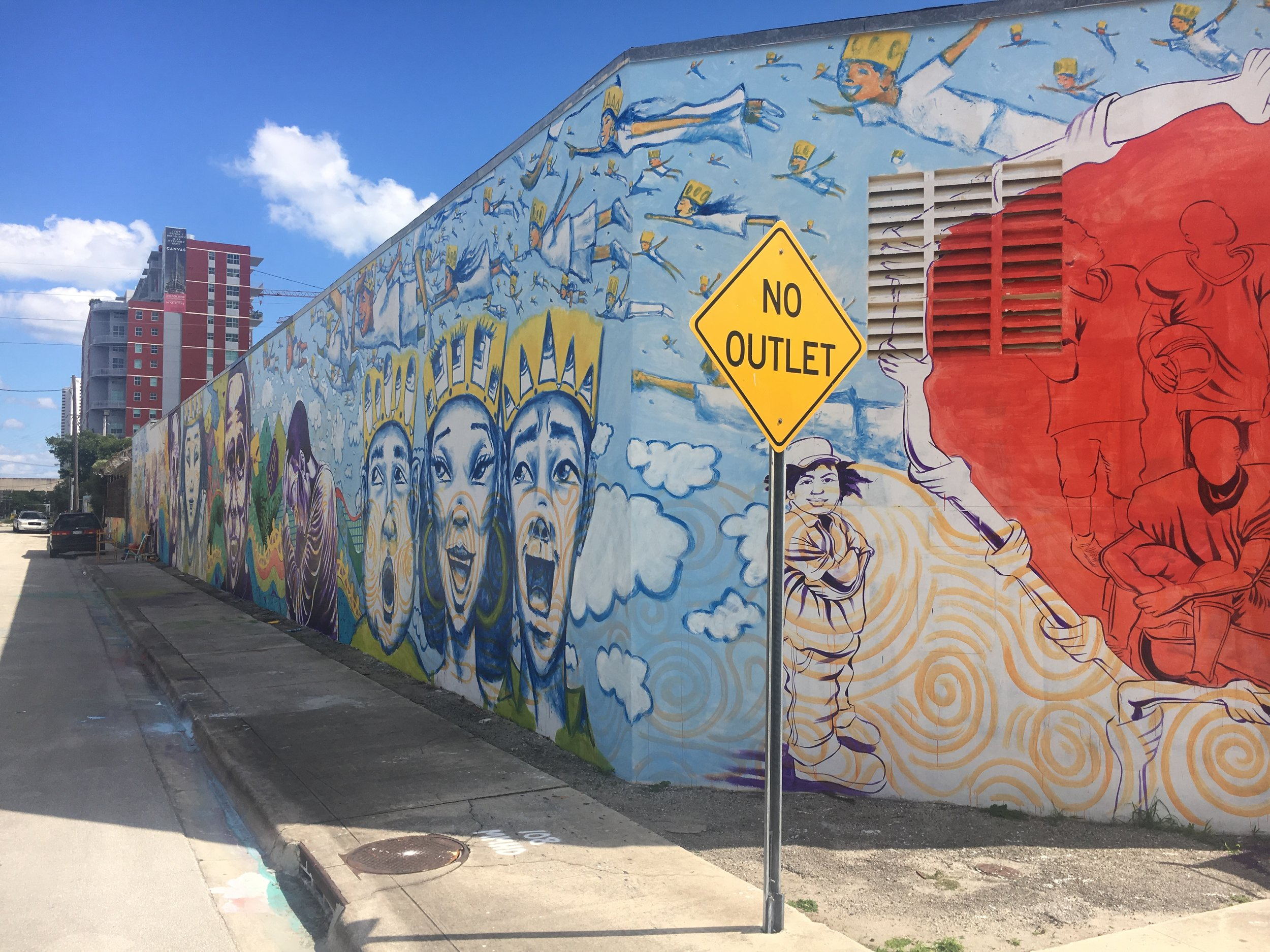 "Miami's Longest Mural- all 4 sides $4,000 + feet!- Teco Energy ""Overtown Community"""