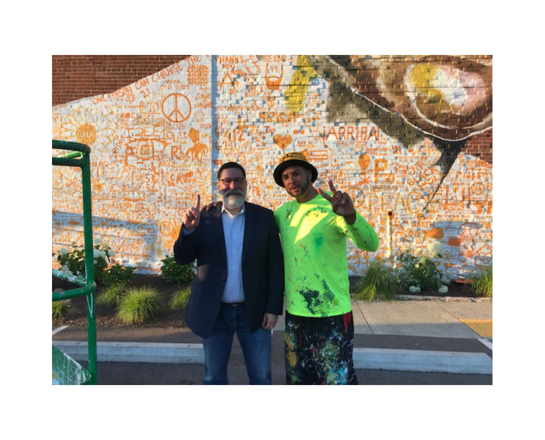 Mayor Peduto and Kyle Holbrook at the Clemente Museum mural special thanks to Duane Reider