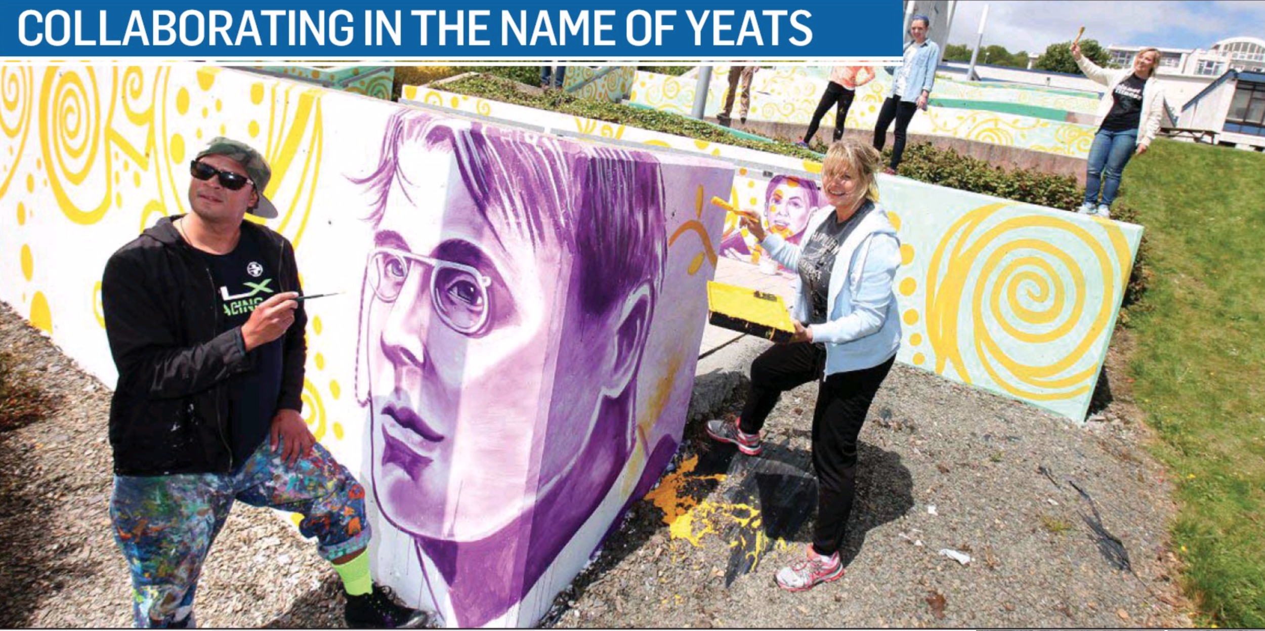 Executive Artist Kyle Holbrook, Dr. Susan O'Rourke and Magician Kevin Spencer paint a mural for the 100 year anniversary of Yeats death on Historic St. Angela's Colledge in Sligo with students and people with Muscular dystrophy as an example of inclusion.
