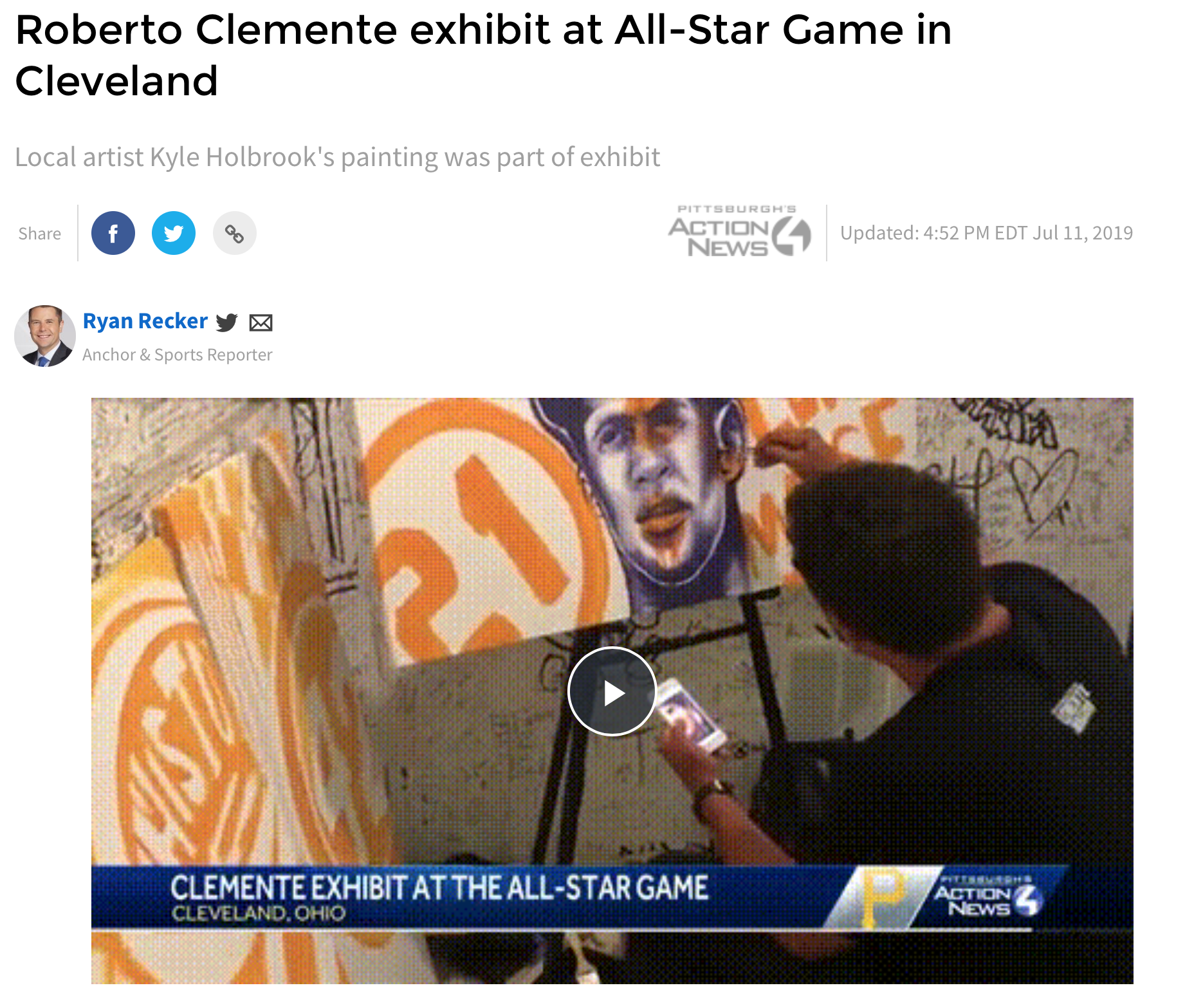 Kyle Holbrook created three murals for MLK All- Star Game in Cleveland as part of the Clemente Museum exhibit, one mural was donated to the Negro Leagues museum in Kansas City