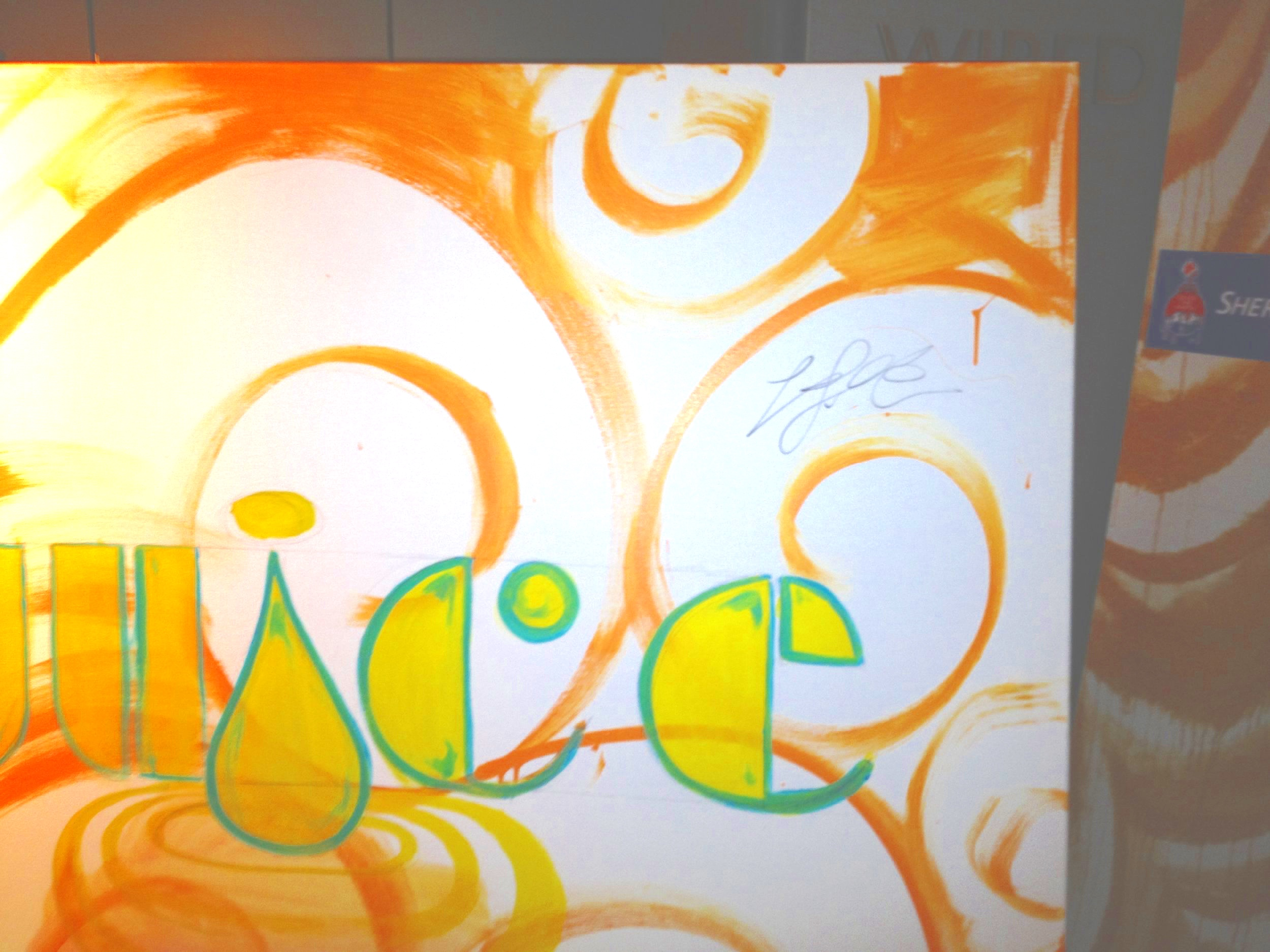 Lebron James signed Kyle Holbrook's Mural - Juice Foundation event at the South Beach W Hotel fashion show to raise funds for Cancer Research.