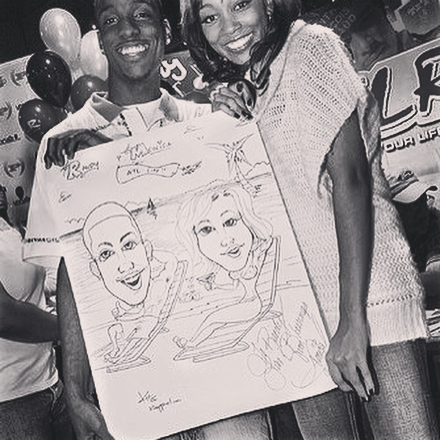 Monica gets a Kyle Holbrook caricature - For Sisters Only event for Womens empowerment.