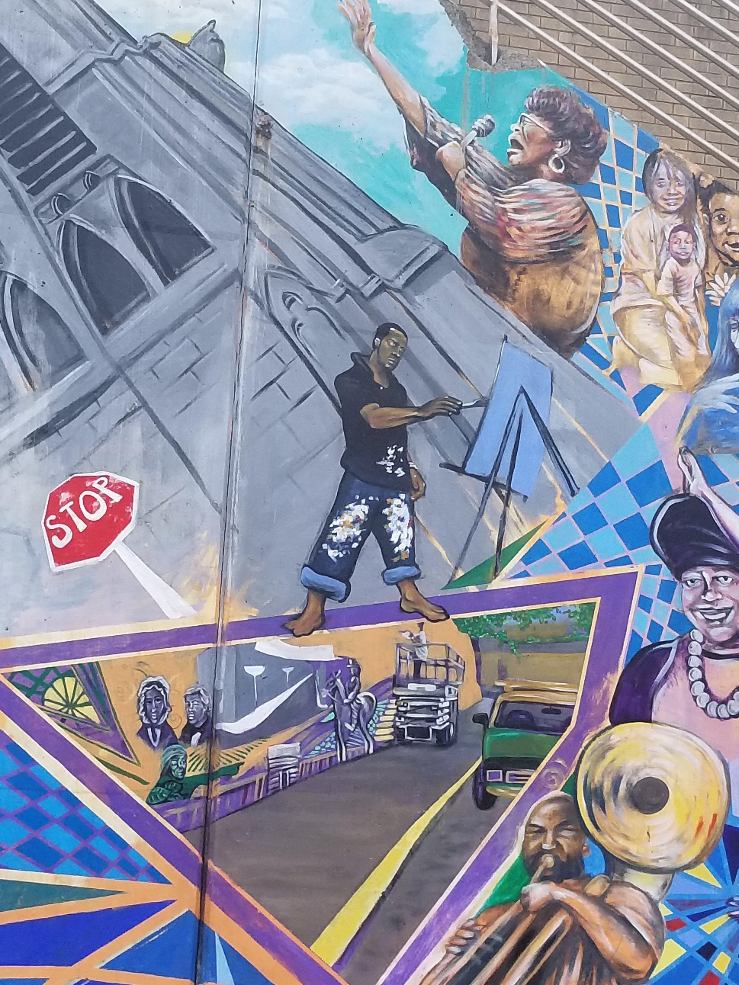 """Wilkinsburg History - detail of the """"mural in a mural"""" (one of Kyle Holbrook signatures in many murals."""