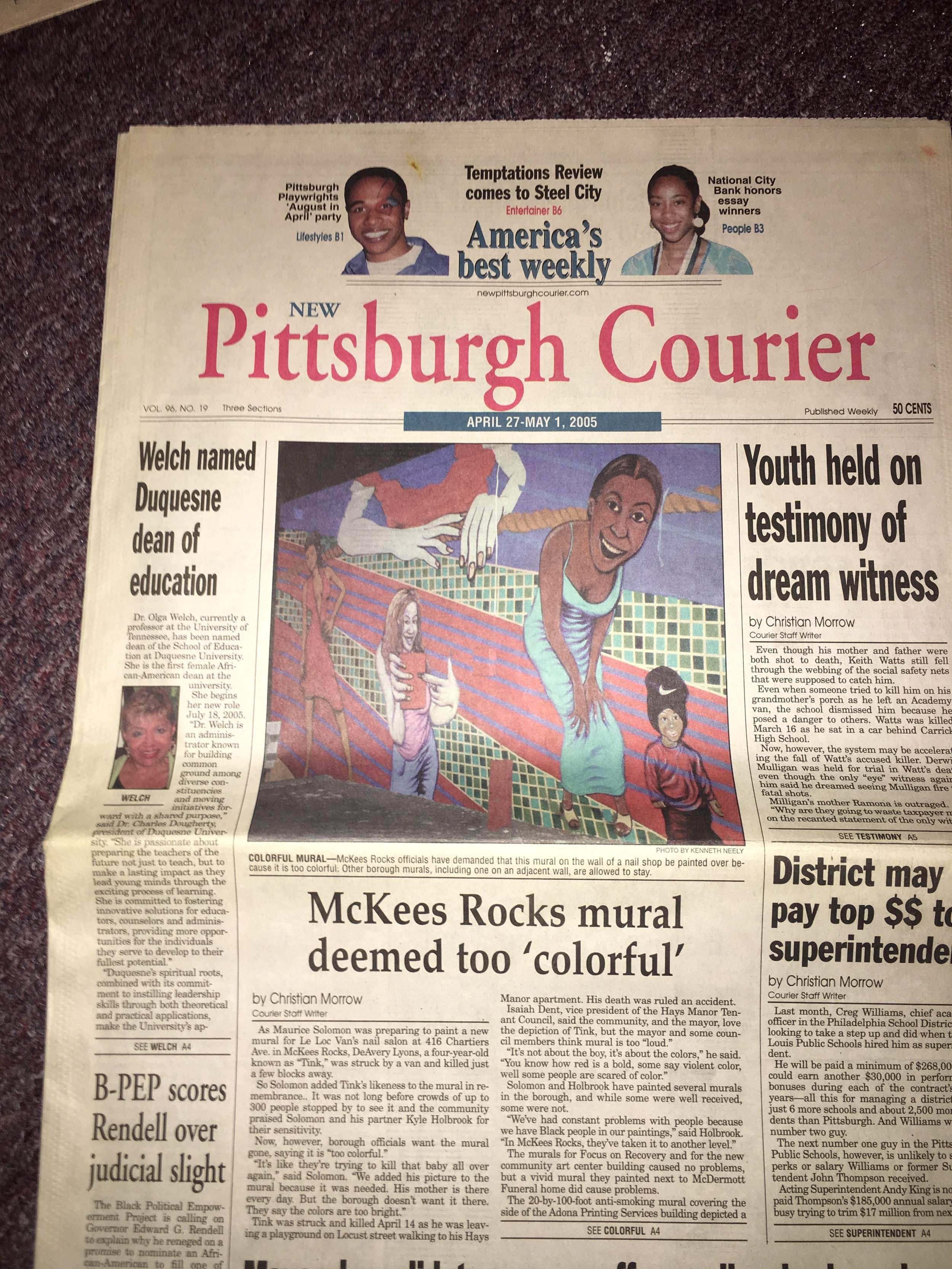"""Courier Cover Story of the mural MLK Mural artists painted in 2005 the Mayor of McKees Rocks attested to arrest artist Maurice Solomon and Kyle Holbrook they said there """"was too many Black people painted on the mural""""!"""