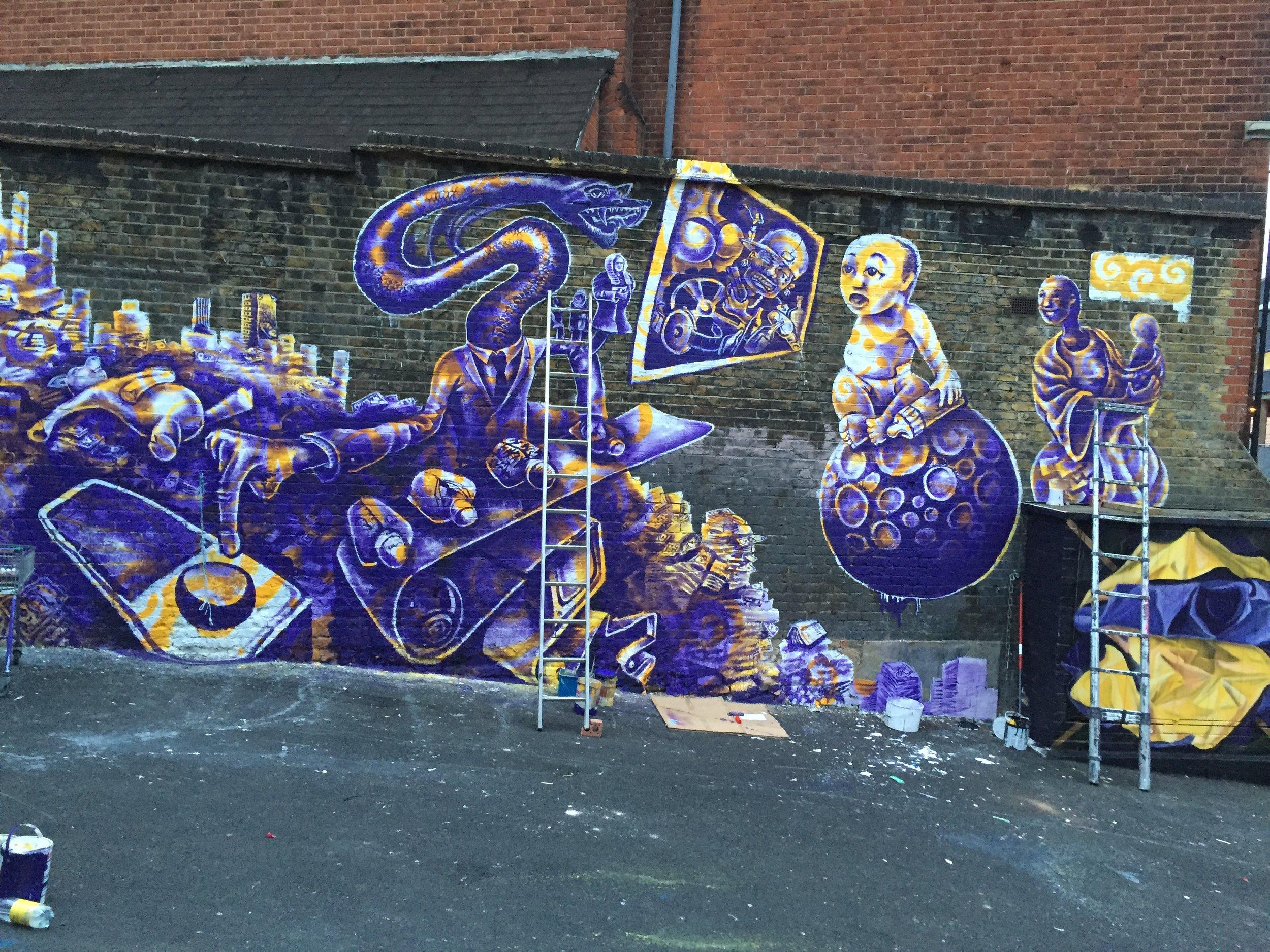 Kyle Holbrook's Mural in Camden, London (progress)