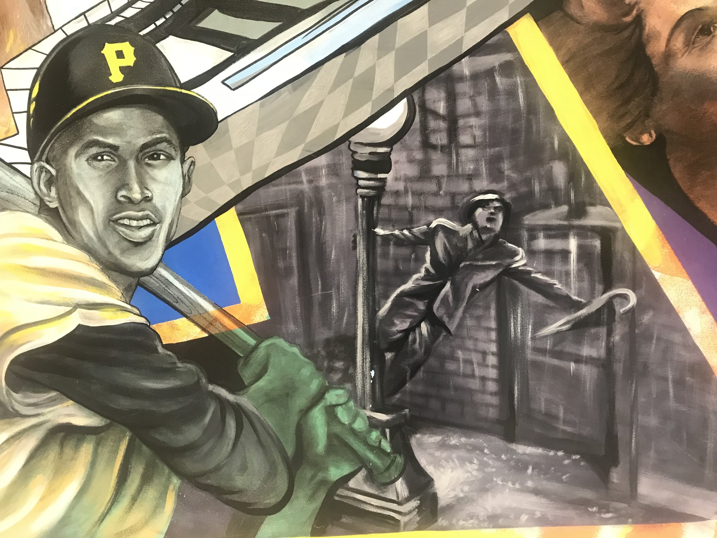 """""""Pittsburgh History"""" by Kyle Holbrook (close up of Roberto Clemente and Gene Kelly) 2003"""