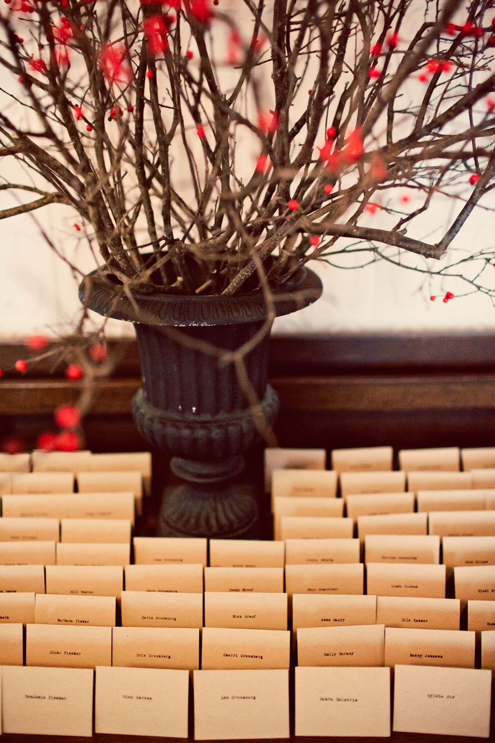 rustic wedding escort card table