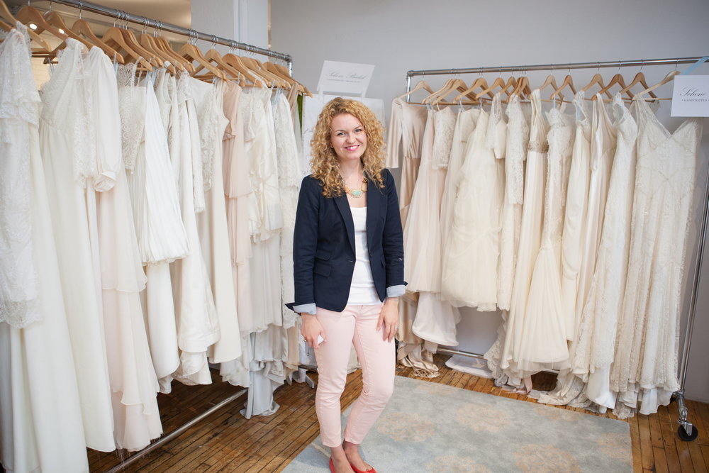 The uber talented Rebecca with her collection,  Schone Bridal