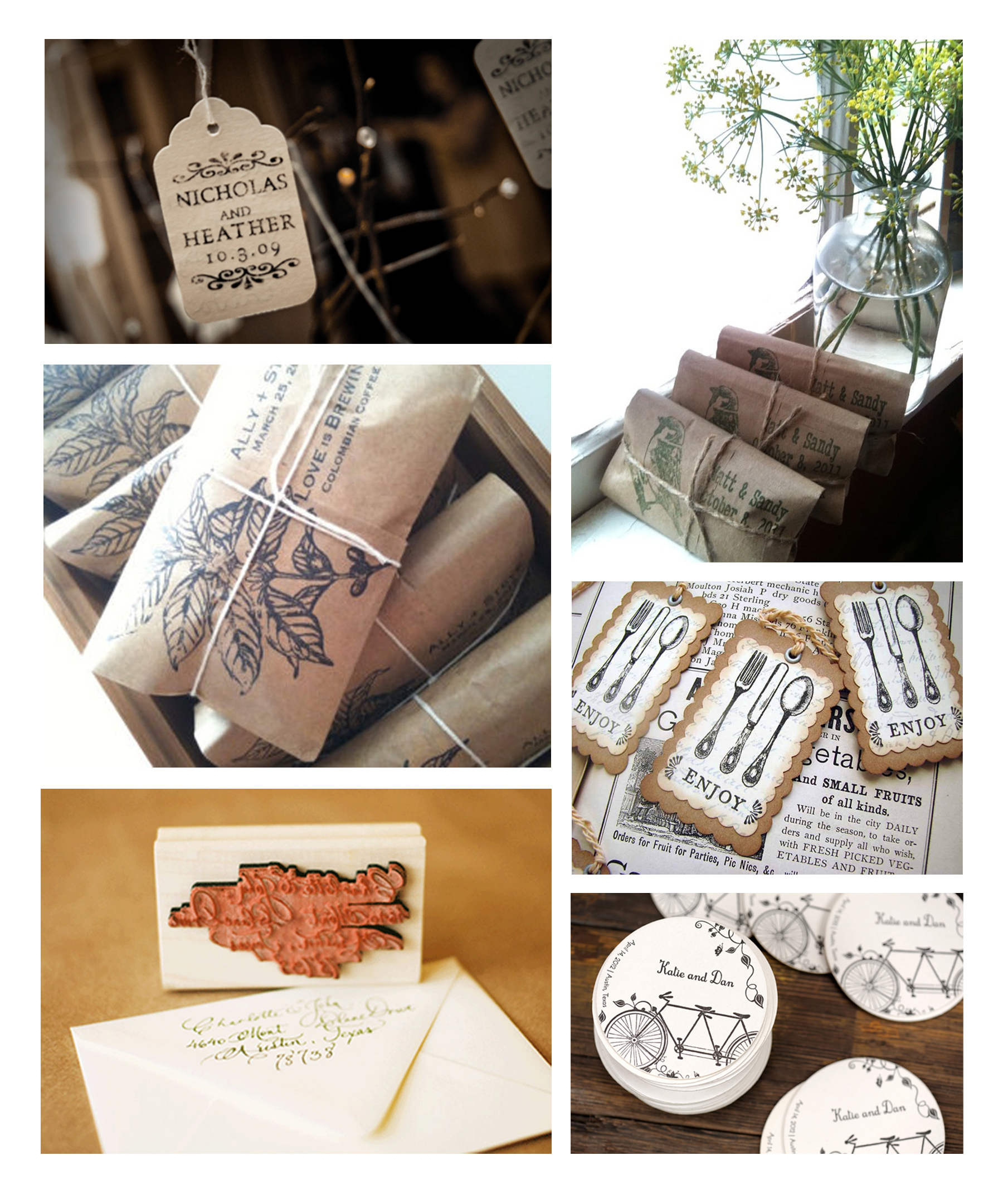 DIY rustic stamped wedding favors