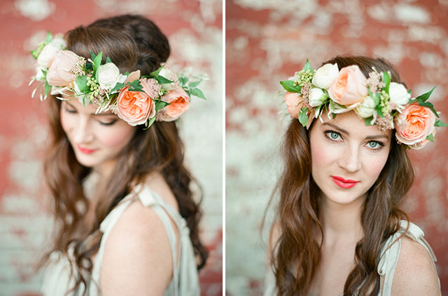 bride wearing peony floral hair crown