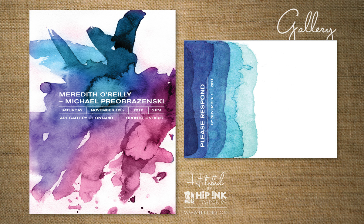 watercolor wedding invitation by hip ink
