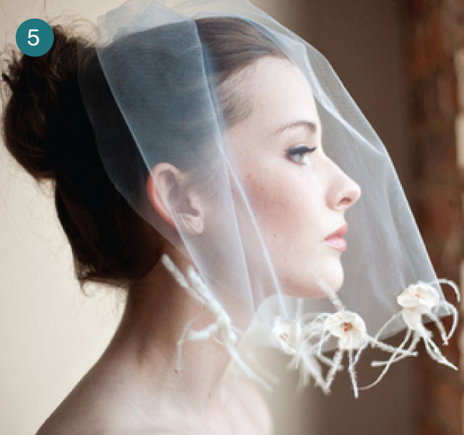 bride wearing vintage-inspired wedding veil