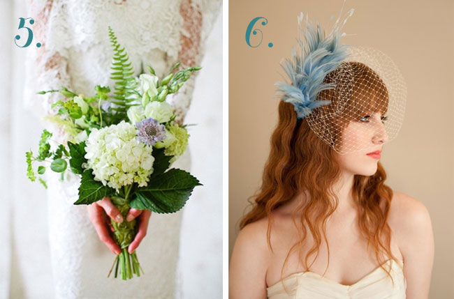 bride's bouquet and blue fascinator.