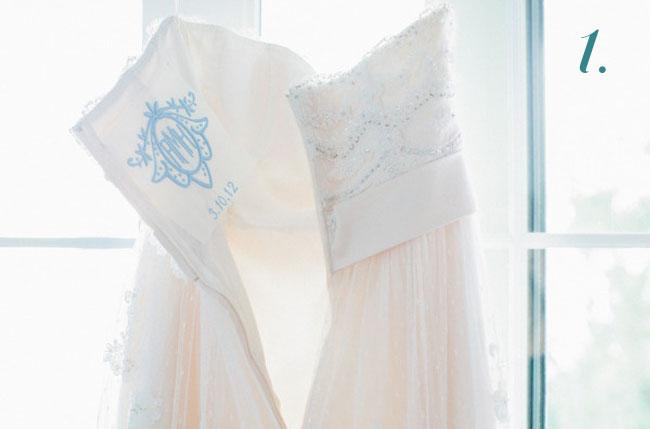 something blue monogram wedding dress