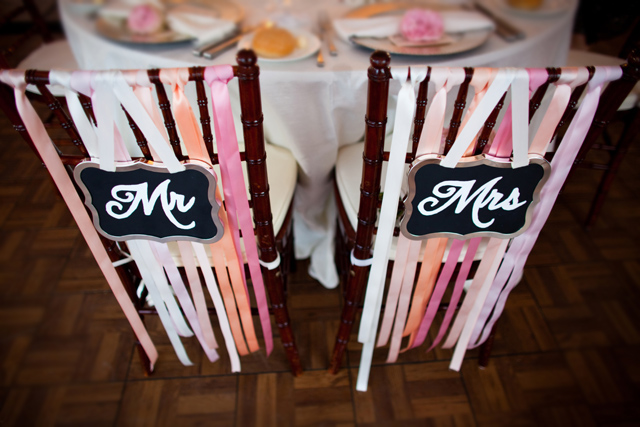 DIY Mr and Mrs wedding signs and ribbon chair adornment