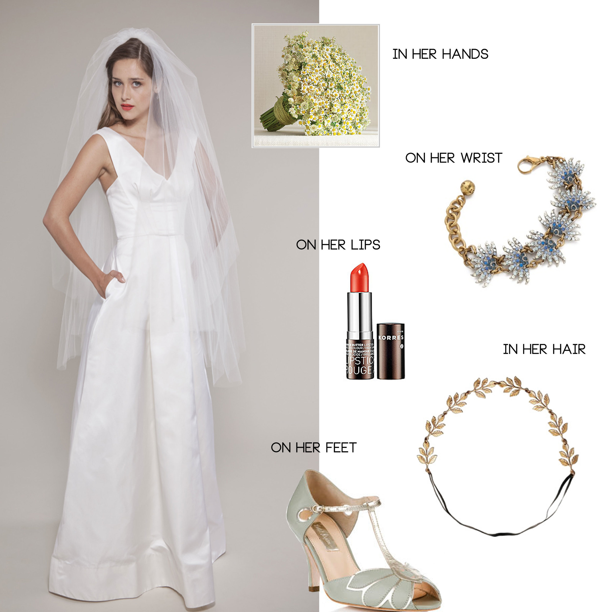 bride's dress, bouquet, shoes and jewelry for a barnyard wedding