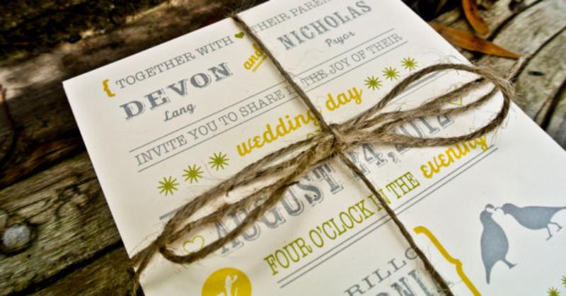 etsy barn wedding invitation yellow and grey