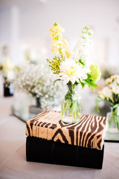 safari-theme wedding tablescape, centerpiece zebra striped