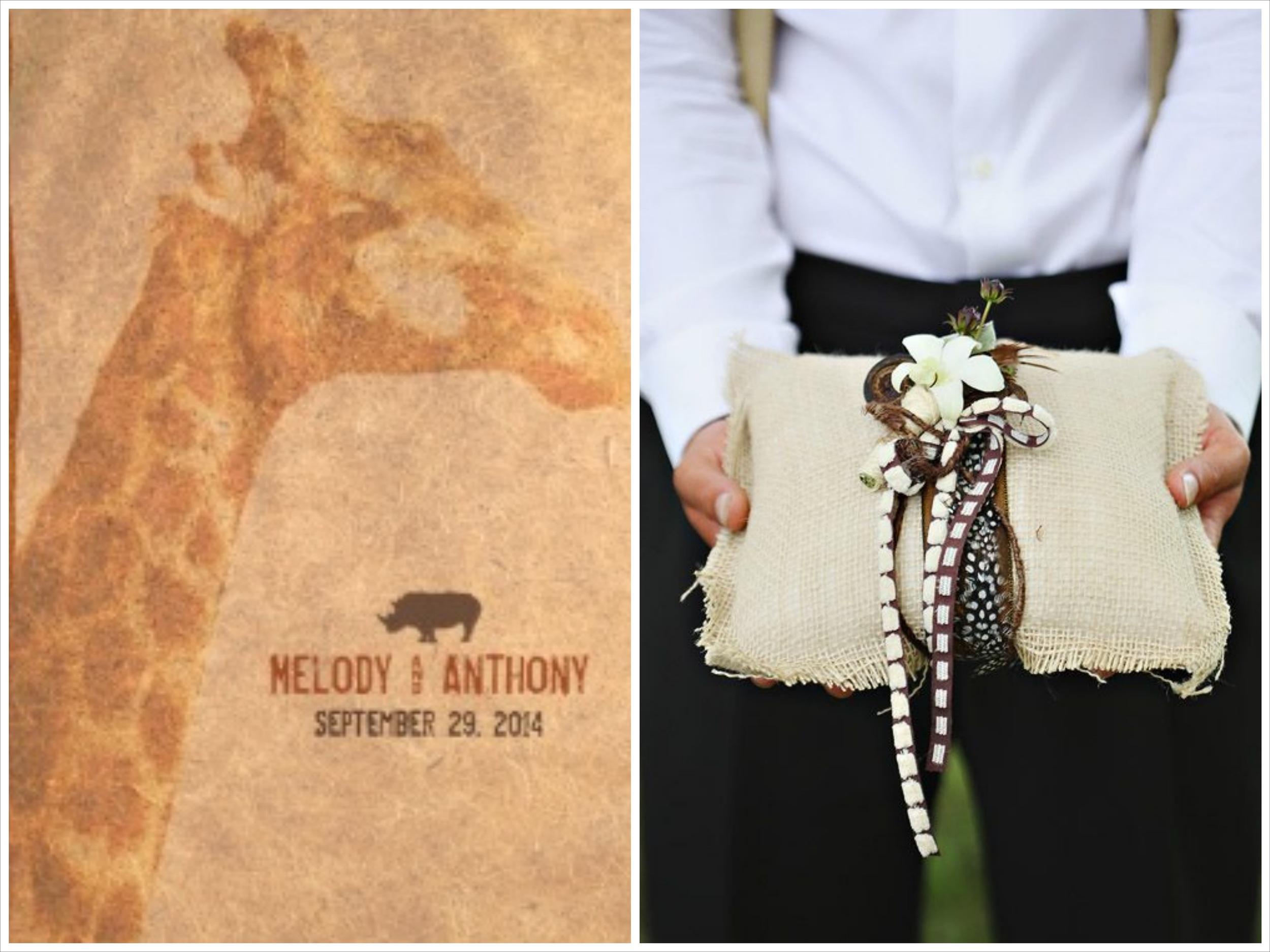 safari wedding invitation and ring bearer pillow