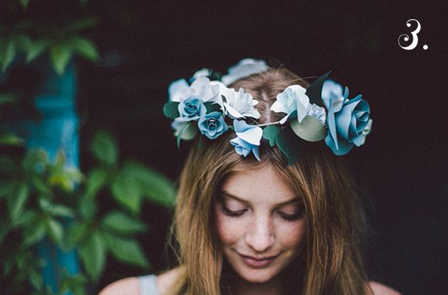 bride's something blue floral crown