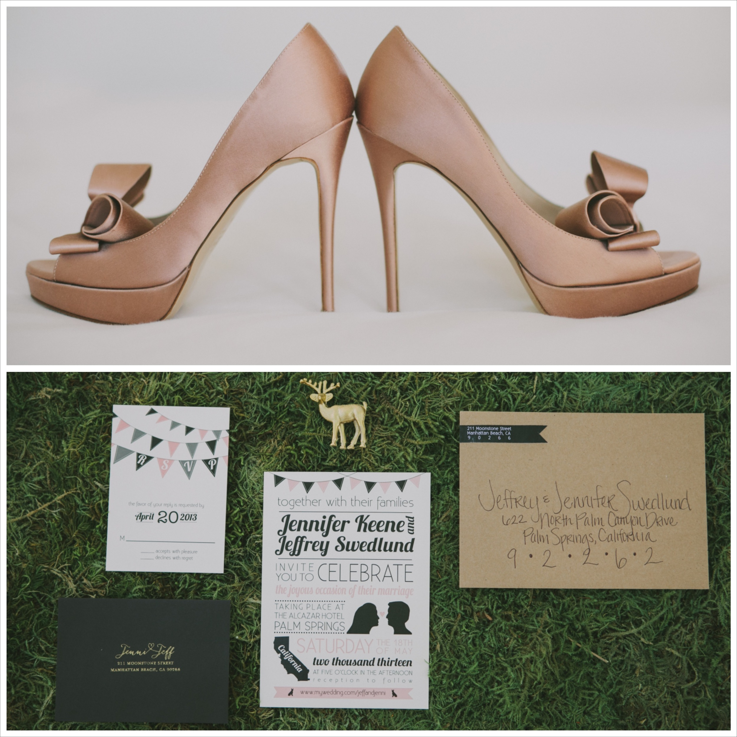 Valentino wedding shoes and invitation suite for Winifred Bean real bride Jenni's Palm Springs wedding