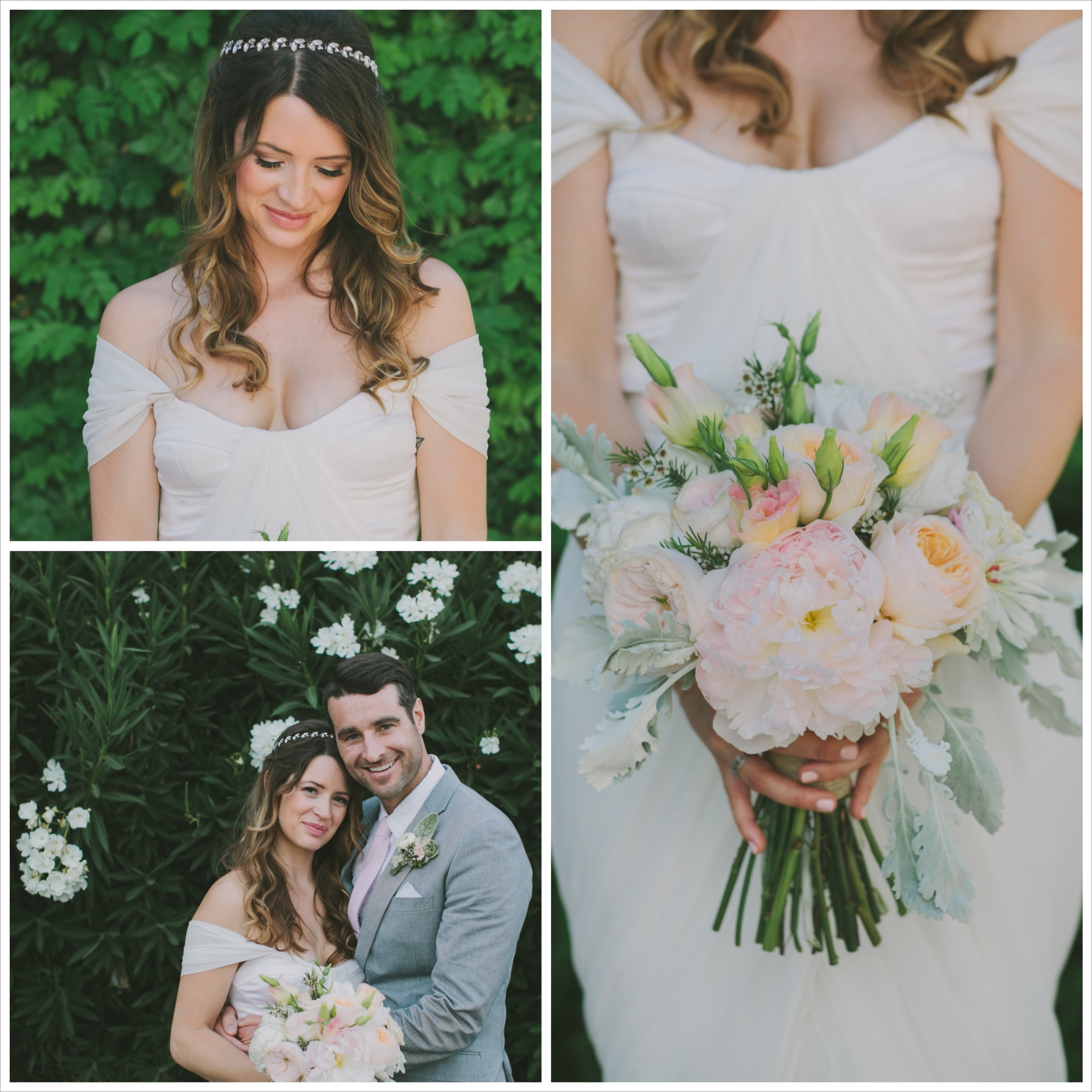 Peach and pink bouquet, bride and groom posing