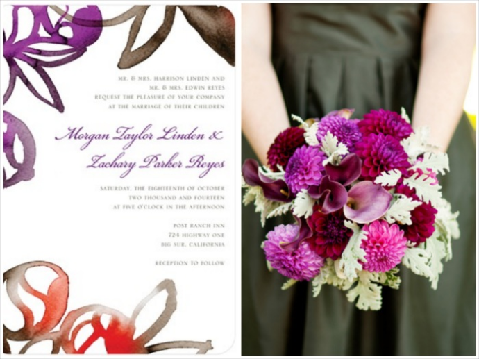 bouquet and watercolor invitations for a vineyard wine country napa or sonoma wedding. burgundy, purple and merlot color scheme