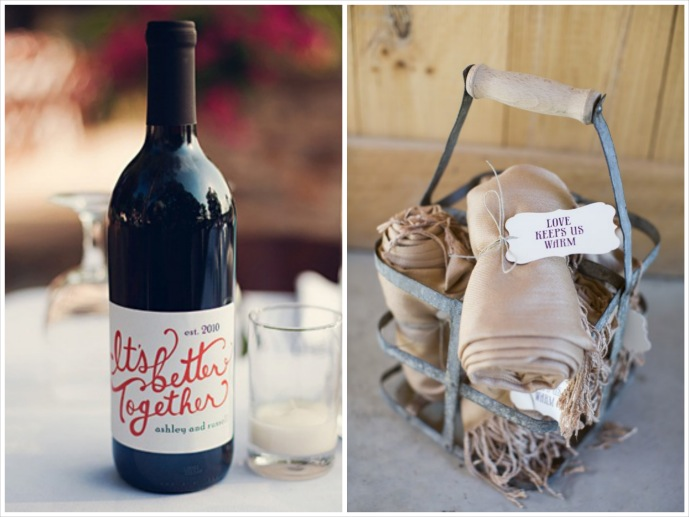 """pashmina guest favors for vineyard wedding and wine bottle centerpiece with phrase """"it's better together"""""""